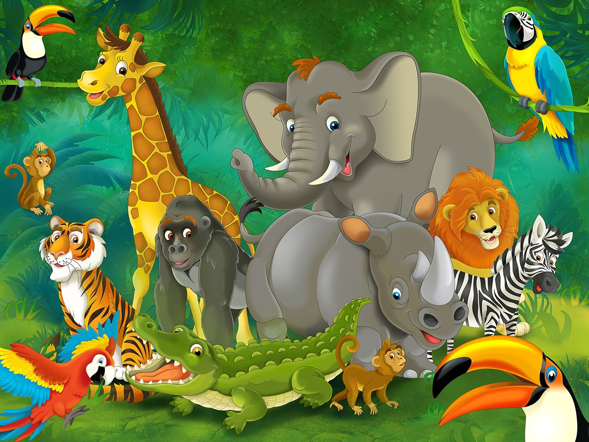 Nursery Decor Wallpaper Mural SAFARI JUNGLE ANIMALS