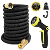 Expandable Garden Hose 50 FT Flexible Expanding Water Hose, Lightweight Yard Cloth Hoses with 3/4 inch Solid Brass Fittings 9 Function Spray Nozzle, Gardening Outdoor Hose(12 Months Guarantee) (Color: Black, Tamaño: 50ft)