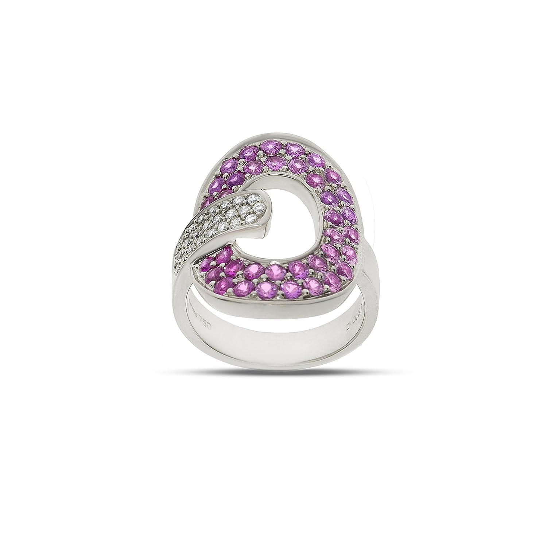 Moderner 18 Karat (750) Weißgold Damen – Diamant Ring Brillant-Schliff 0.31 Karat I-I1 mit rosa Saphir – 11 Gramm günstig kaufen