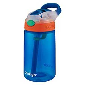 Contigo Kids Gizmo Flip Water Bottles, 14oz, French Blue/Coral, 2-Pack (Color: French Blue & Coral 2-Pack, Tamaño: 2-Pack)