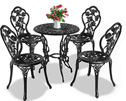 Centurion Supports Tabriz Jardin et patio Table et 4 chaises en fonte d'aluminium Table de bistrot – Noir