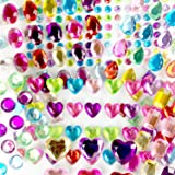 Halovin Self-Adhesive Multicolor Flatback Rhinestone Sticker Gems, Assorted Bling Craft Jewels Crystal Stickers(386 Pieces)