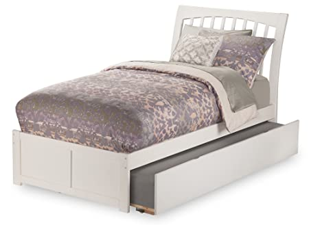 Atlantic Furniture Orleans Flat Panel Foot Board with Urban Trundle Bed, Twin, White