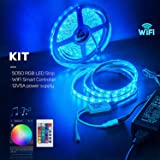 BTF-LIGHTING RGB 5050 Led Strip Kit. WiFi Wireless Smart Phone Controller + 16.4ft 300 LEDs 5050 SMD Waterproof IP65 RGB LED Lights + DC12V5A Power Adapter Working with Android and iOS System,Alexa (Tamaño: White PCB Kit)