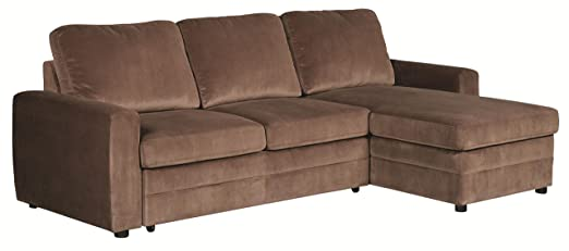Brown Microvelvet Sectional Sofa with Pull Out Bed and Storage