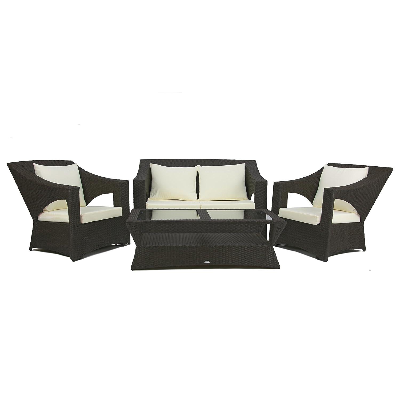 Rattan Gartenmöbel Lounge Sitzgruppe Paris 4 teilig schwarz Alurahmen hochwertig handgeflochten 3 Jahre Garantie Deluxe Polyrattan Set Sofa Lounge Möbel Gartengarnitur Kissenbezüge creme