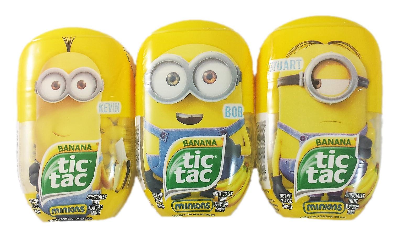 Tic Tac Despicible Me Minion Bundle, Kevin, Bob and Stuart, 3.4 oz each