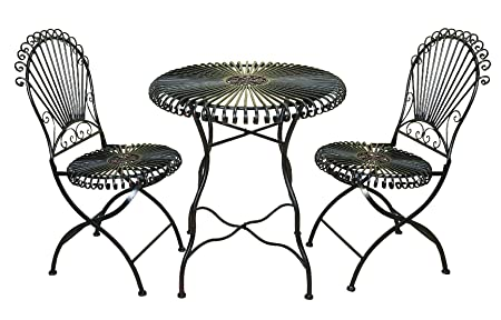 Deco 79 99591 3-Piece Metal Bistro Outdoor Dining Set, 28 by 30-Inch
