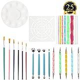 SUBANG 25 Pieces Rock Painting Pen Dot Dotting Tools for Mandala Rock Painting, Coloring, Drawing & Drafting, Kids' Crafts, Nail Art, Painting (Color: 25 Pieces)