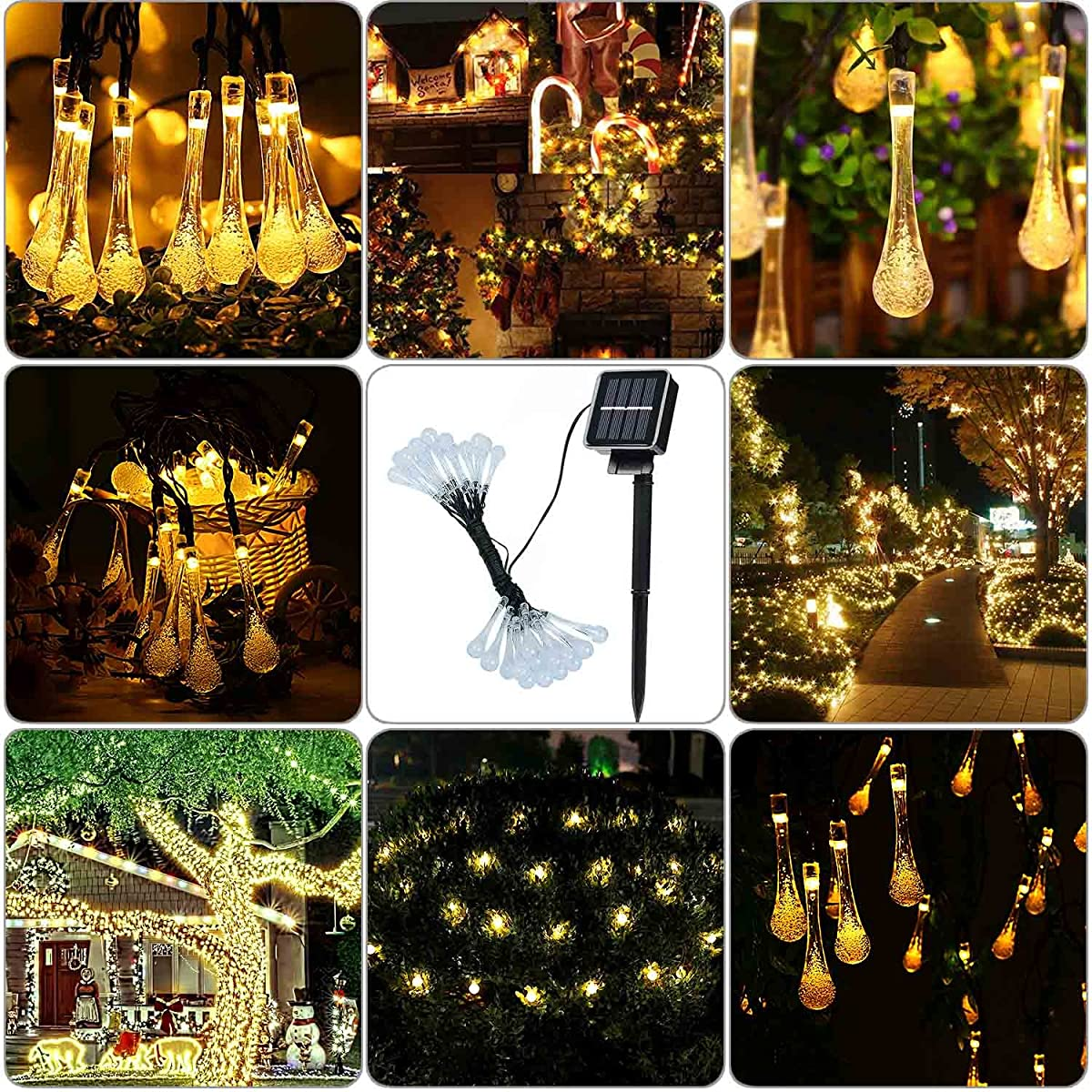 acehome solar outdoor string lights 20ft 30 led warm white water drop solar string fairy waterproof lights christmas lights solar powered