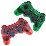 FSC Pack of 2 Mixed colors Transparent PS3 Wireless Remote Controller GamePad for use with PlayStation 3 (TRed/TGreen) (Color: TRed/TGreen)