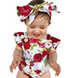 LOliSWan Newborn Kids Baby Girls Clothes Floral Outfits Set Lace Romper Suit Baby Headband (White, 9-12 Months) (Color: White, Tamaño: 9 - 12 Months)