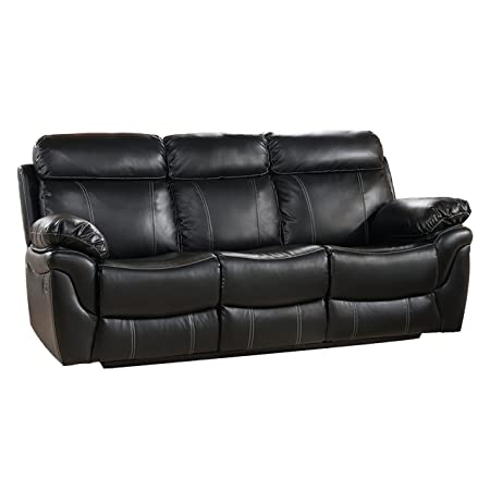 Milton Greens Stars Sophia Reclining Sofa, 88-Inch by 38-Inch by 40-Inch, Black