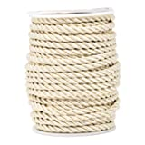 Mandala Crafts 5mm 3/16 inch Rayon Home Décor Piping Braided Trim Rope Twisted Cord (5mm, Cream)
