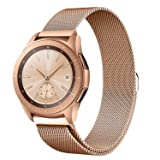 Shangpule Compatible Samsung Galaxy Watch (42mm) Bands, 20mm Milanese Loop Stainless Steel Metal Replacement Bracelet Strap Compatible Galaxy Watch SM-R810/SM-R815 /Gear Sport Smartwatch (Rose Gold) (Color: Rose Gold)