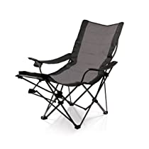 Portable Lounger Black Picnic Time Reclining Chair