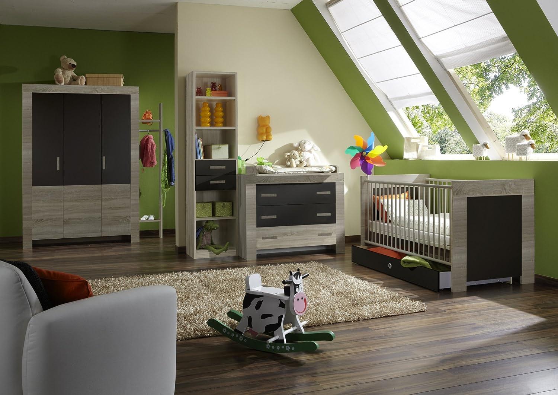Babyzimmer mit Bett 70 x 140 cm Eiche sägerau/ lavafarbig jetzt bestellen