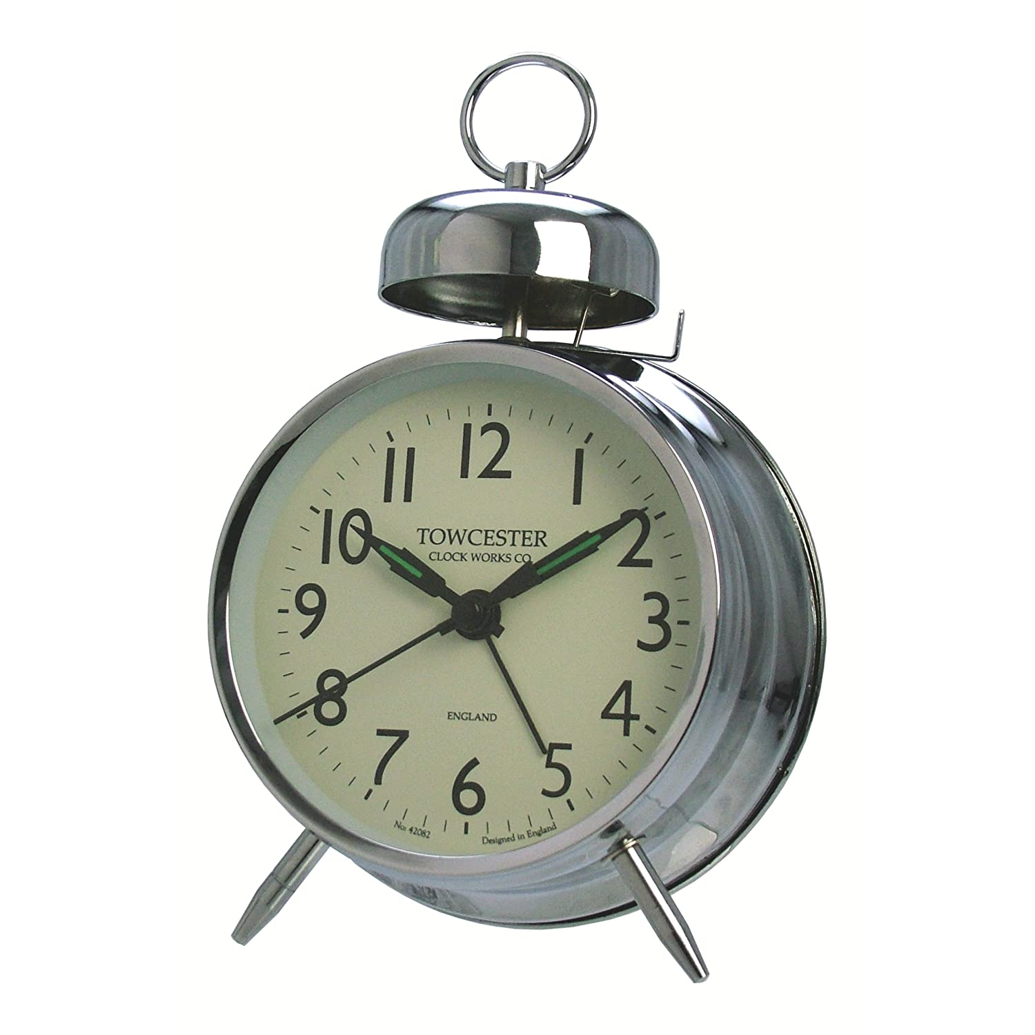 ... Pimlico Mechanical wind up movement, Single bell alarm Clock, Silver