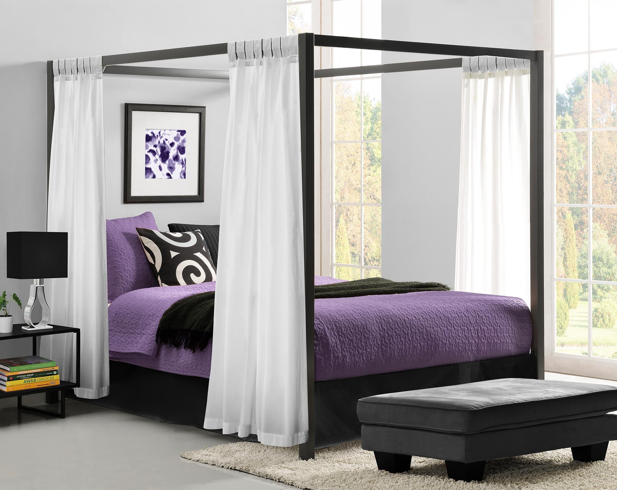 Dhp Modern Metal Framed Industrial Canopy Bed Frame Queen