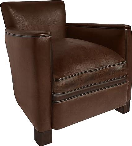 Parisian 1930 Art Deco -Sedia in pelle da club, colore: cioccolato, larghezza 70 cm cm, altezza 70 cm, altezza 72 cm