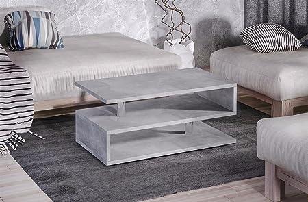 Endo Couchtisch Katania Wohnzimmertisch 100x55cm Modern Tisch mit Ablage 100cm // Beton-Optik