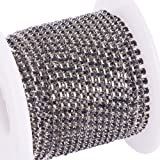 BENECREAT 10 Yard Crystal Rhinestone Close Chain Clear Trimming Claw Chain Sewing Craft About 2880pcs Rhinestones, 2mm - Black (Silver Bottom) (Color: Black (Silver Bottom), Tamaño: 2mm)