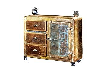"""Sit-Möbel 2609-98 cómoda """"nevera"""", 100 x 40 x 90 cm, madera auténtica, con nevera asas de metal ruedas, rojo"""