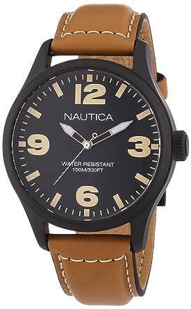 83b5b89f5d Nautica - A13614G - Montre Homme - Quartz Analogique - Cadran Noir -  Bracelet Cuir Beige: 8*