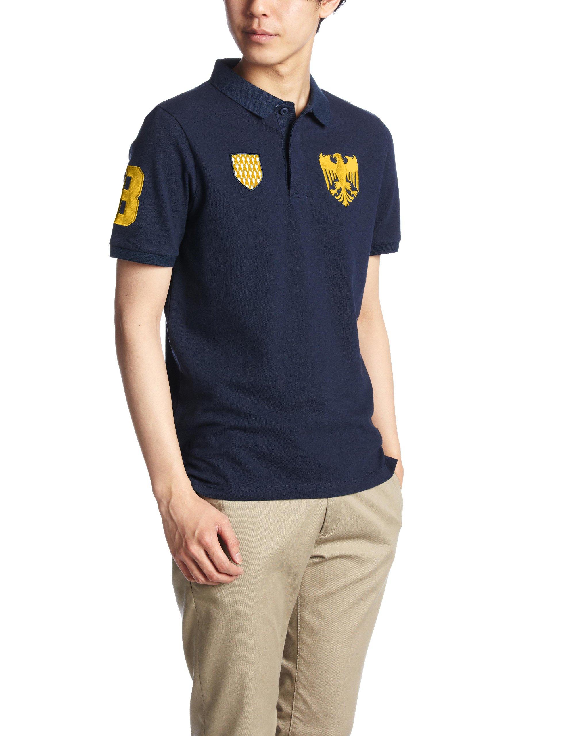 (ジョルダーノ)GIORDANO グリフィン刺繍エンブレムワッペン半袖ポロシャツ