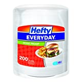Hefty Everyday Foam Plates (White, Soak Proof, 8.875 inches, 200 Count)