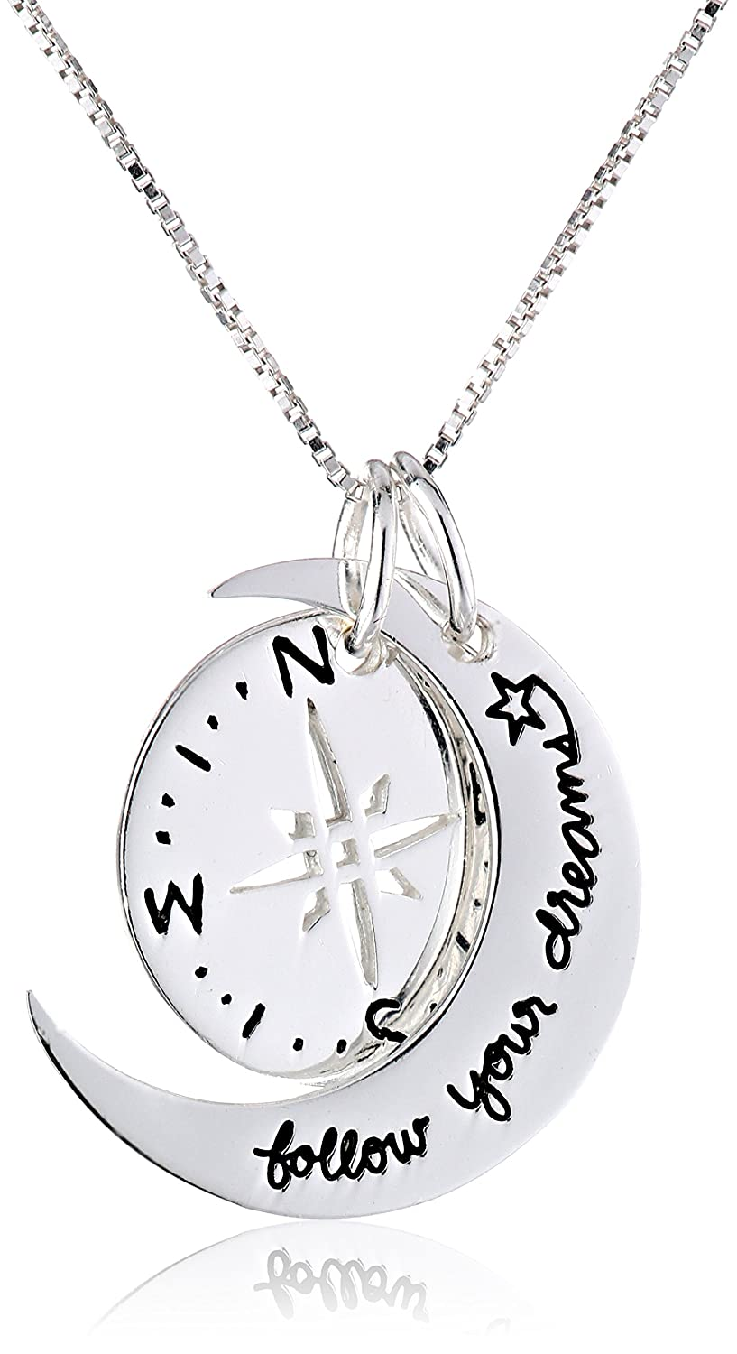 Sterling Silver Two-Piece Compass Follow Your Dreams Pendant Necklace, 18 silver dreams серьги silver dreams a8009