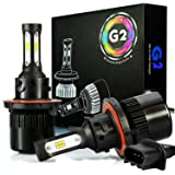JDM ASTAR G2 8000 Lumens Extremely Bright CSP Chips H13 9008 All-in-One LED Headlight Bulbs Conversion Kit, Xenon White (Tamaño: H13 9008 (CSP Chips))
