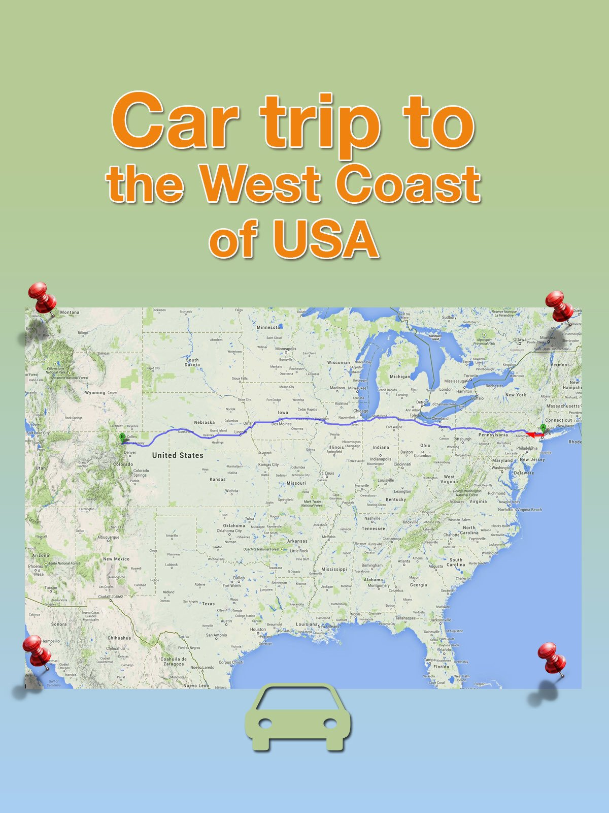 Car trip to the West coast of USA