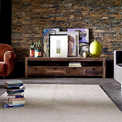 mueble TV madera palisandro televisor mesa salón 200 cm maciza consola