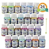 LET'S RESIN Pearl Pigment Powder -24 Colors Mica Powder-Each Bottle 0.35oz-Resin Powdered Pigments-HandSoap Making Dye for Slime, Resin Dye, Bath Bomb, Soap Molds Colorants, Nail Art, Candle Making
