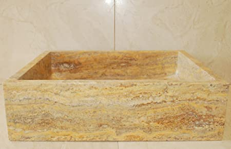 Anatolia Stone Vessel Rectangular Sink. Natural Stone Bathroom Vessel Sink. Rectangular Vessel Sink. Travertine Vessel Sink.