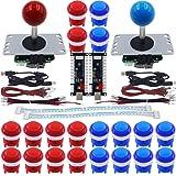 SJ@JX Arcade Game DIY Kit 2 Player Zero Delay USB Encoder LED Button Joystick Controller for Retro Raspberry MAME Jamma NES PC Windows (Color: Red Blue)