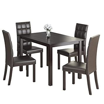 CorLiving 5 Piece DRG-595-Z2 Atwood Dining Set with Leatherette Seats, Dark Brown