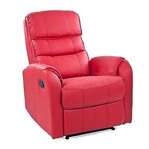 Fernsehsessel Relaxsessel Ledersessel TV Sessel Bonded Leder/PVC rot ca. 78x92x100cm (BxTxH)  Kundenbewertung und weitere Informationen