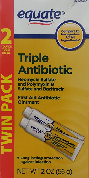 Equate Triple Antibiotic First Aid Ointment (Compare to Neosporin Active Ingredients) Twin