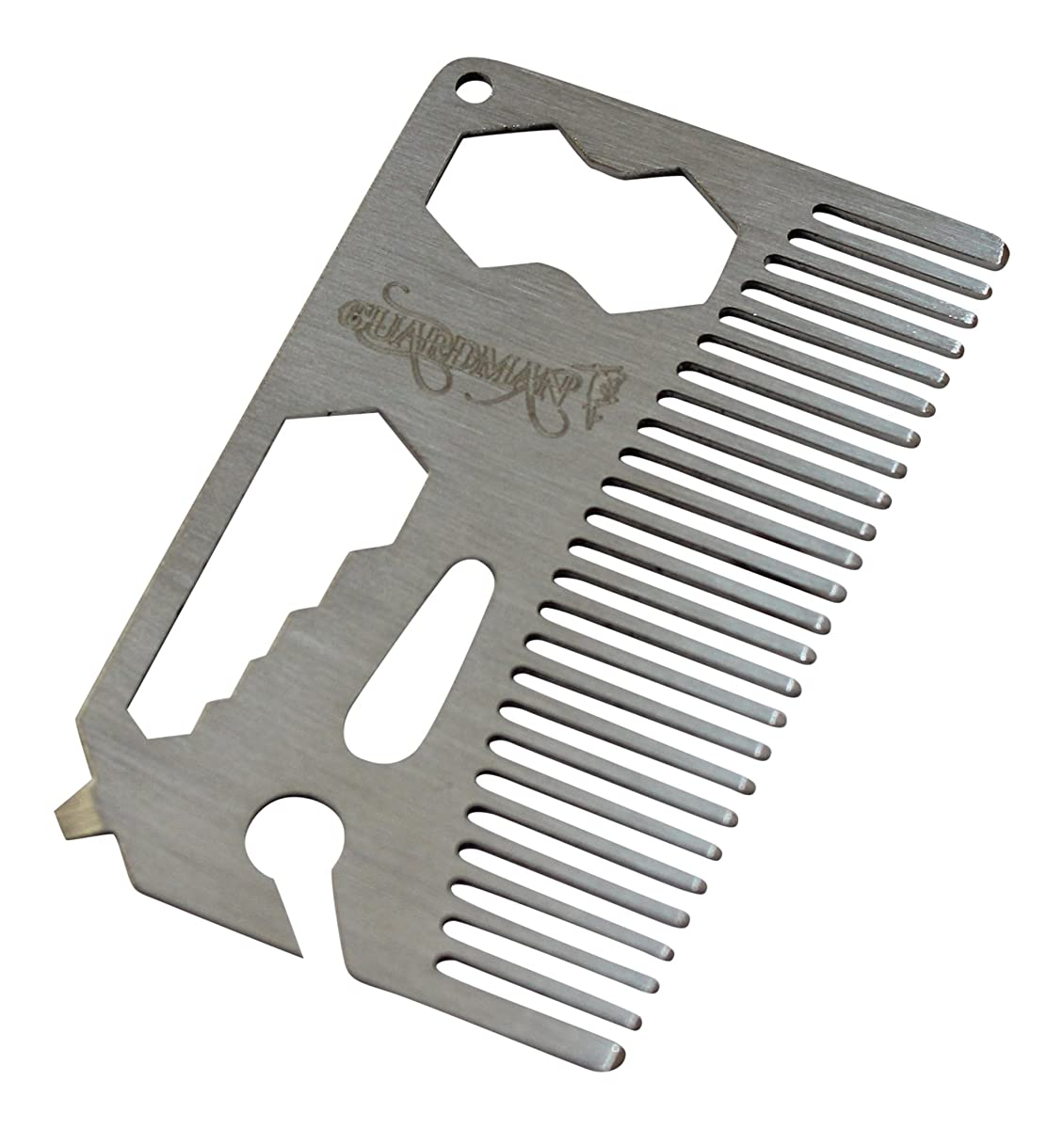 Guardman Stainless Steel Multitool With Beer Bottle Opener & Hair Comb or Beard Comb - Gifts for Dad