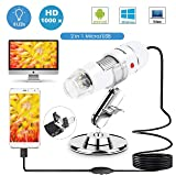 Sunnywoo USB Digital Microscope,40 to 1000x Magnification Endoscope 8 LED USB Microscopes,Mini Camera with OTG Adapter and Metal Stand,Compatible with