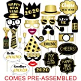 Happy New Year 2020 Photo Booth Props - New Years Eve Party Supplies 2020 - Large Size, NO DIY Needed- Black and Gold, 30 Count (Color: Gold)