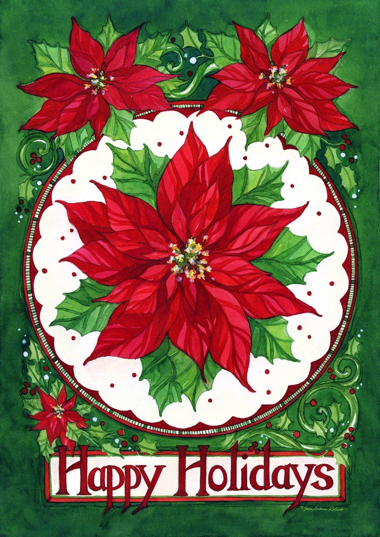 Poinsettia Garden Flags | Christmas Wikii