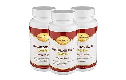 Spar Pack 3x HYALURONSÄURE Gold Plus - 200 mg pro Kapsel - 300 Kapseln fermentiert & Mikro-Molekular - fur Vegetarier geeignet * MADE IN GERMANY * Gelenke - Haut - Anti-Aging - höchste pharmazeutische Qualität von VITACONCEPT