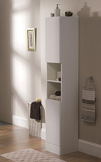davos- libera installazione bianco laccato legno bagno comodino con ripiani regolabili e Soft Close cerniere della porta