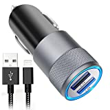 iPhone Car Charger, Aonear 3.1A Rapid Dual Port USB Car Charger with 6-feet Lightning Cable for iPhone X / 8 / 8 Plus / 7 / 6s / 6s Plus 5S 5 5C SE,iPad and More