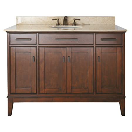 Avanity Madison 48 in. Vanity with Beige Marble Top and Sink in Tobacco finish