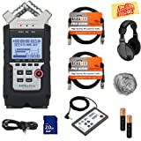 Zoom H4n Pro Handy Recorder Bundle with Headphones, Remote, SD Card, 2 XLR Cables, Aux Cable, AA Batteries, and Austin Bazaar Polishing Cloth (Color: Bundle w/ Headphones, Tamaño: H4n)