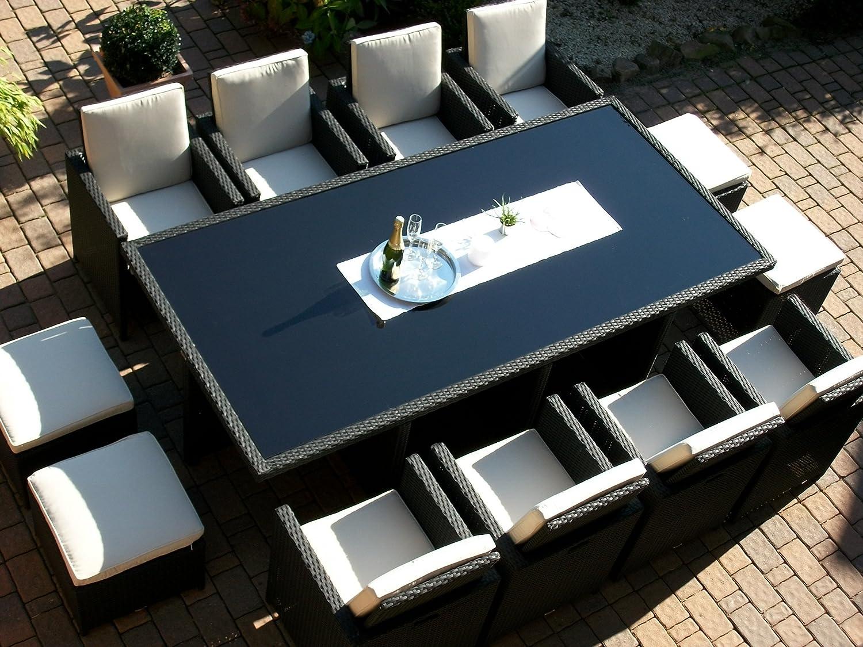 Polyrattan Rattan Geflecht Garten Sitzgruppe Toscana XXL in schwarz (Tisch 8 Sessel 4 Hocker) für 8 bis 12 Personen